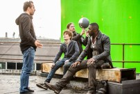 Director Nikolaj Arcel with Tom Taylor and Idris Elba on the set of Columbia Pictures' THE DARK TOWER.
